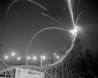 Fireworks ignited from the top of a ski jump
