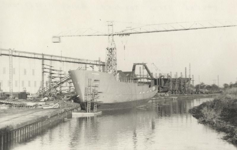 'Navena' stern trawler under construction on stocks at Grovehill shipyard 1960s (archive ref DDX1525-1-3 (17))