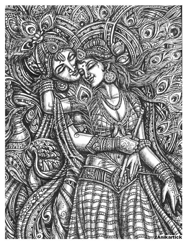 Lord Radha Krishna Art By Ani Chennai Tamilnadu India A Photo On Flickriver
