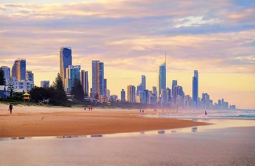 sunset sea beach sand australia surfersparadise goldcoast