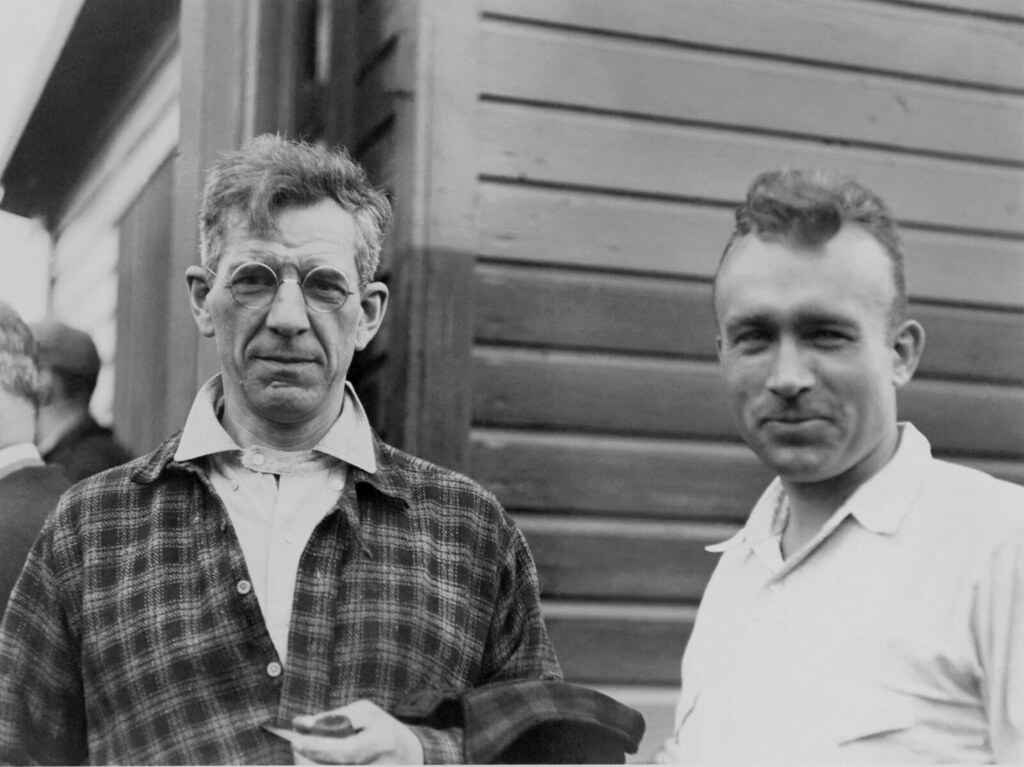 This photo of Benton MacKaye and Myron Avery was taken in 1931, soon after Avery was elected chairman of the Appalachian Trail Conference.