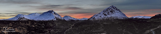 Panoramic Sunset over the snowy Scottish Highlands