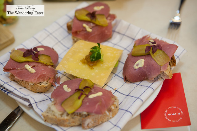 Traditional Dutch sandwiches of roast beef, sauerkraut and pickles and cheese sandwich with a fruit chutney