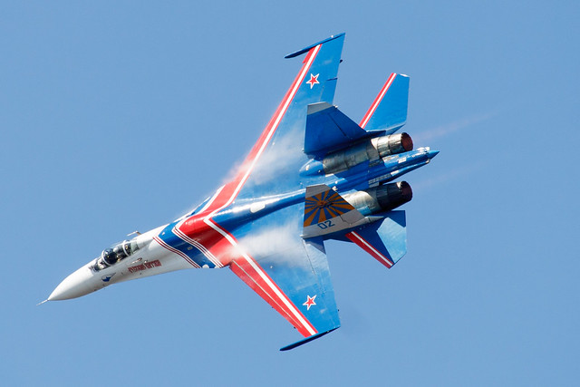 Sukhoi Su-27P performs solo aerobatics at IMDS-2015