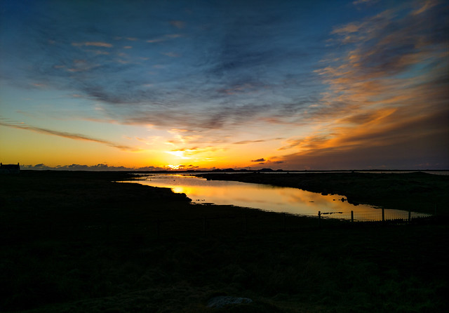 Sunset reflections at Loch Bi, South Uist