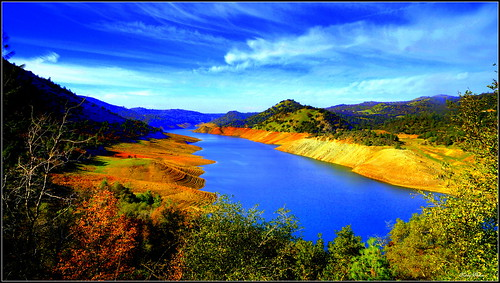 california lake mountains color water scenery
