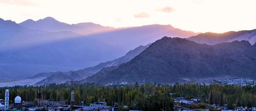 city travel sunset panorama india mountain tourism landscape asia tour valley layers leh himalayas highaltitude jammuandkashmir