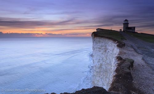 park sunset sea england cliff lighthouse downs sussex chalk south cliffs east national eastbourne belle tout
