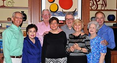 North Raleigh Rotary's guests at the Patterson's home. L-R: Gene & Sheila Hirsch, Kay & Ed Smallwood, Nancy & Gerry Patterson and Martha & Grank Bouknight.