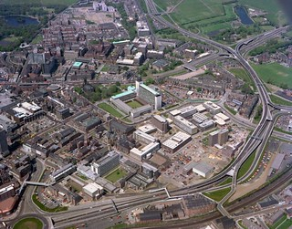 Newcastle Civic Centre and its surrounding area, 1977