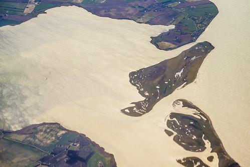 sea beach water plane landscape denmark island coast waves tide aerial zealand sjælland passengerplane passengerjet windowsit