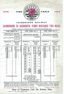 Fairbourne Railway timetable 1960 | by ian.dinmore