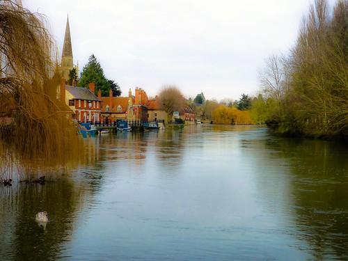 winter thames river landscape wharf abingdon