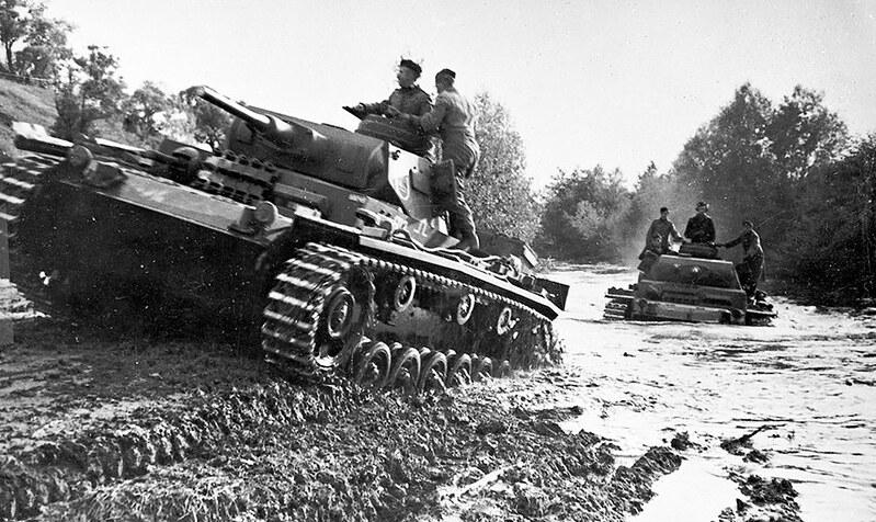 Two German Panzerkampfwagen III medium tanks