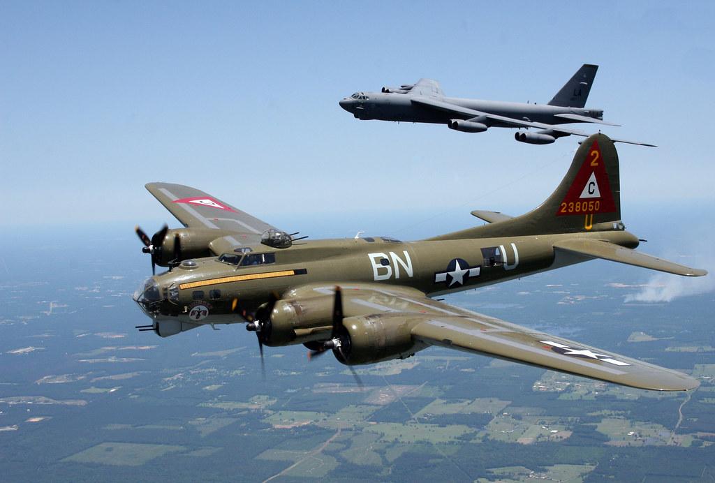 Boeing B-17G Flying Fortress 'Thunderbird' 44-85718; and Boeing B-52H Stratofortress / BUFF 60-0017 'Peace Maker' PHOTO: Christopher Ebdon, AV8PIX