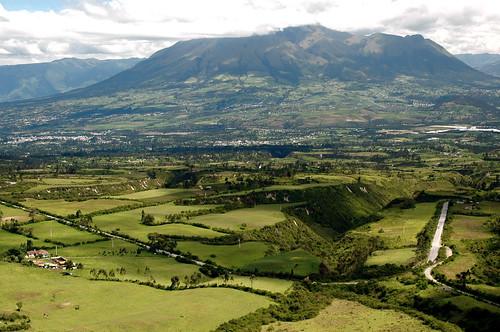 road green clouds landscape volcano ecuador fields