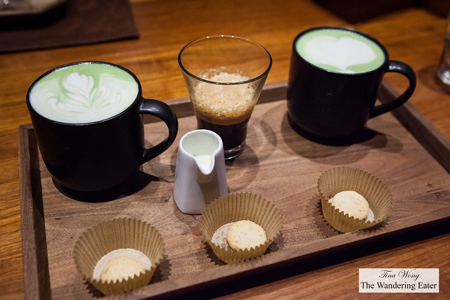 Our beverages - Matcha latte, Matcha basil-mint latte, Shakerato Bianco with fior di latte on the side