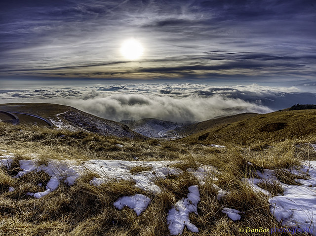 Sunset over the Clouds in winter season