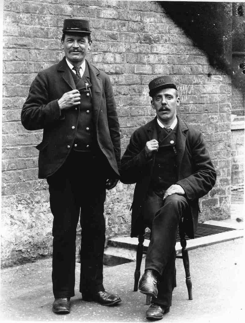 Railway station guards at Cherry Burton circa 1910 (archive ref DDX1319-2-9)