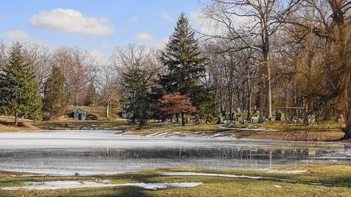 winter lake snow water cemetery landscape outdoors michigan sony february 2016 shiawasseecounty oakhillcemetery owossomichigan sonyhx9v