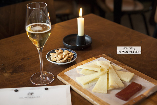 Pire Fermier Cider paired with Manchengo cheese, quince paste and Marcona almonds