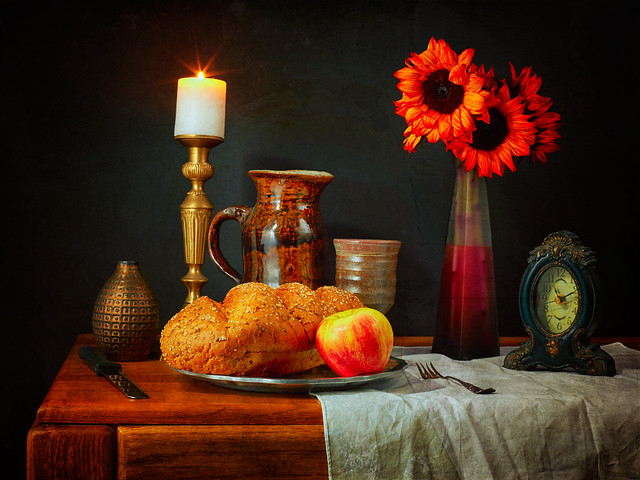 Still life with bread and Sunflowers