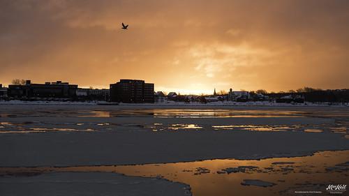 ocean winter sunrise town atlantic fiery