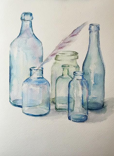 watercolor练习 bule glass bottle