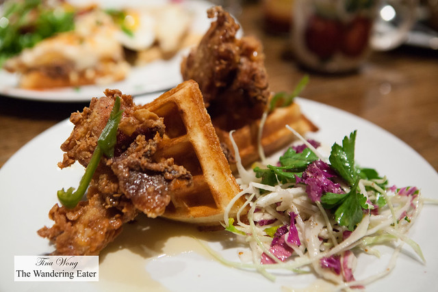 Fried chicken and waffles, bourbon honey, pickled jalepenos, slaw