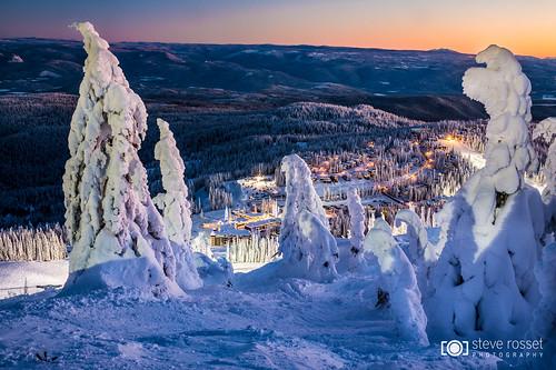 trees winter sunset mountain snow canada ski cold landscape twilight skiing village bc view okanagan frosty resort alpine icy vernon silverstar snowghosts silverstarmountain