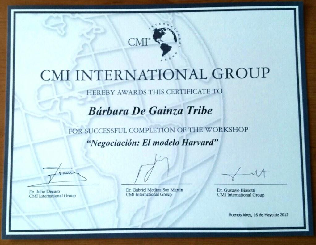 Certificado Negociación El Modelo Harvard Jornada De N