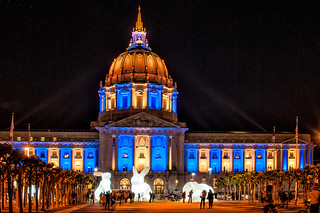 "San Francisco City Hall With Golden State Warriors' Colors and ""Intrude"" 