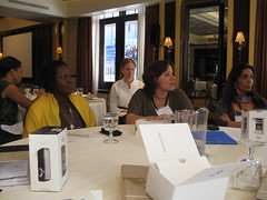 Leticia with other innovators at breakfast session at CGI 2010
