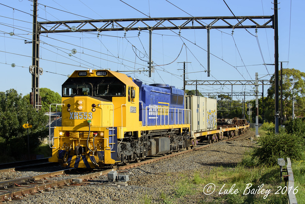 XR553 leads #9556 up Long Island goods at Moorabbin. by Luke's Rail Gallery