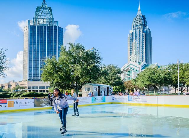 Children ice skate at Riverside Ice in Mobile Alabama