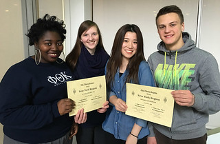 Sun, 03/06/2016 - 10:48 - Members of the PTK who participated in the Honors in Action Diversity project standing left to right: Jessica Rush, Amanda Starczewski, Yu Shimizu and Pavlo Huda