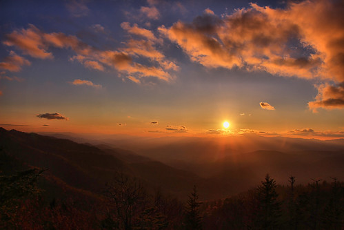 blue sunset north ridge parkway carolina knob waterrock