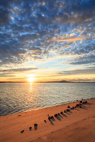 nyc morning bridge orange newyork beach nature water beautiful yellow clouds sunrise landscape coast sand nps queens shore gateway waterscape jamaicabay howardbeach morningglow