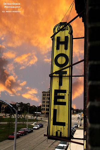 sunset urban usa abandoned broken sign yellow clouds digital america canon hotel midwest neon cityscape close decay michigan urbandecay detroit archive icon roosevelt 5d february allrightsreserved mkii 313 motown motorcity cpa 2015 nothdr detroitderek warrensky