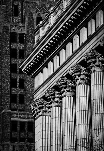 city winter urban building classic monochrome lines vertical architecture contrast landscape outdoors morninglight support cityscape order shadows geometry patterns capital columns frieze structure diagonal february posts pillars parallel pediment corporateheadquarters milwaukeewisconsin volute tamron18270 nikond5100 lightroom5 northwesternmutuallifeinsurancecompany