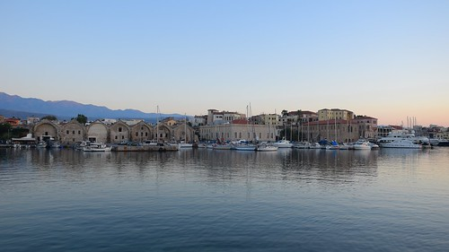 harbour sea water chaniavenetianharbour city oldtown old historical mediterranean island landscape cityscape seascape view sunset evening bluehour buildings architecture boats yachts chania hania xania canea crete kreta kriti greece summer