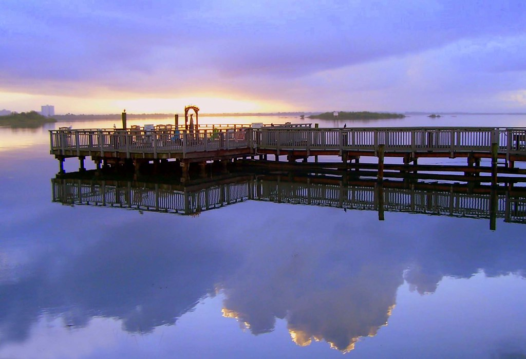 Sunrise Over The Dock Of Aunt Catfish Restaurant Port Ora