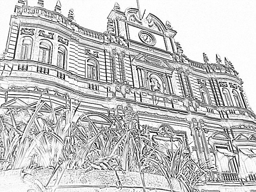 Palacio Municipal B&W - Puebla