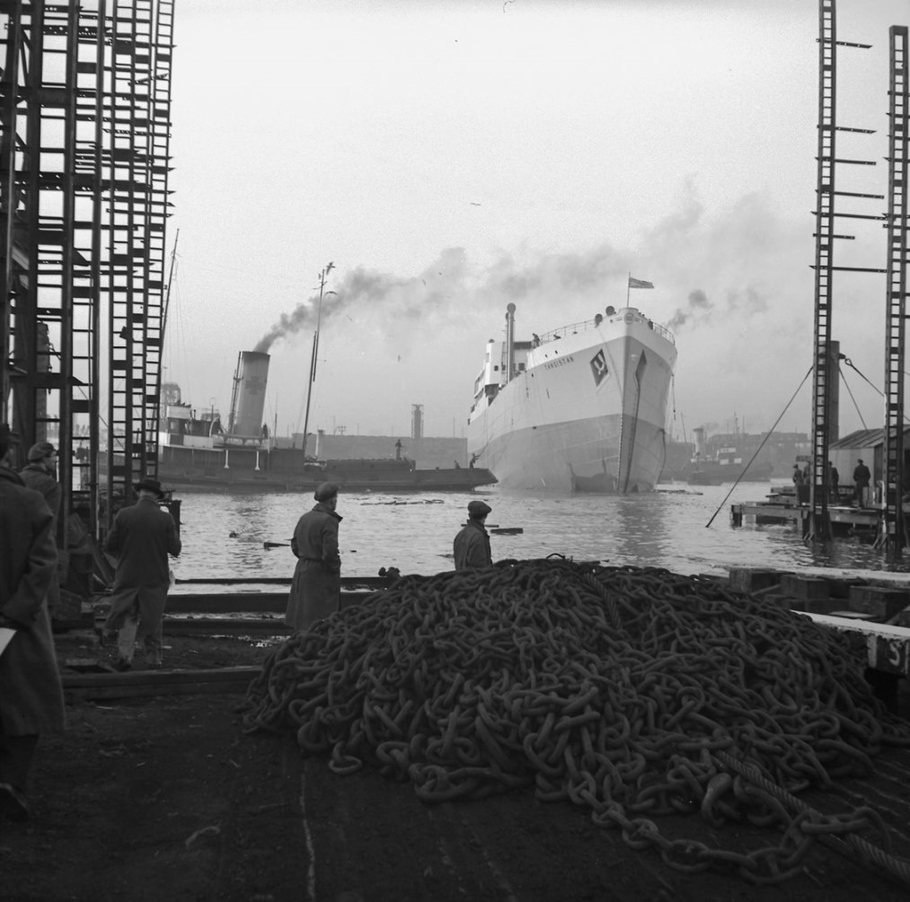 The cargo ship 'Tangistan' after launch