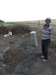 Maize cob charcoal making demonstration at Ol Pejeta