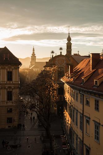 sunset dawn austria evening abend österreich sonnenuntergang dämmerung graz steiermark autriche styria schlosberg schlosbergplatz