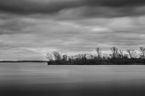 longexposure sky water monochrome clouds landscape outdoors blackwhite michigan derroitriver