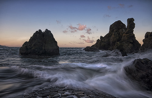 sunset sea rock evening jetty wave borders eastscotland stabbs berwickshire d90 elidor petticowick