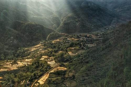 sun mountain mountains green vietnamese rice vietnam riverbed rays ricefield sapa riceterrace yachtpagos