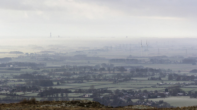 Fylde mist seen from Nicky Nook, Scorton, Forest Of Bowland AONB, Lancashire, UK